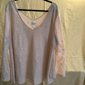 Simply Emma lined lace top with bell sleeves